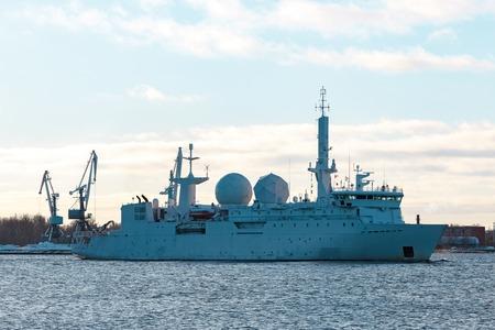 battleship: White military comander vessel sailing to Baltic sea