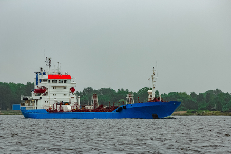 Blue cargo tanker ship moving to the Baltic sea Reklamní fotografie
