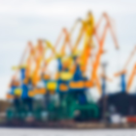 Portal cargo cranes - soft lens bokeh image. Defocused background Stok Fotoğraf