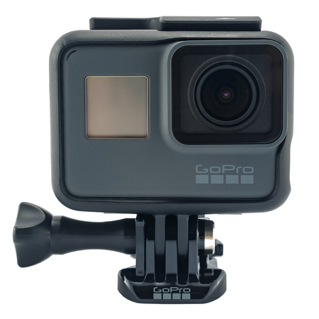 RIGA, LATVIA - NOVEMBER 25, 2017: GoPro HERO 6 Black. Supports 4k Ultra HD video up to 60 fps and 1080p up to 240 fps. Brand new waterproof action camera isolated on white Foto de archivo - 93041915