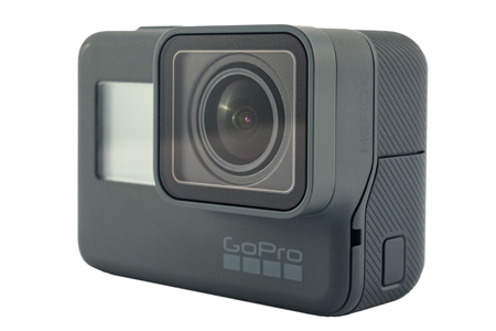 RIGA, LATVIA - NOVEMBER 25, 2017: GoPro HERO 6 Black. Supports 4k Ultra HD video up to 60 fps and 1080p up to 240 fps. Brand new waterproof action camera isolated on white Editorial