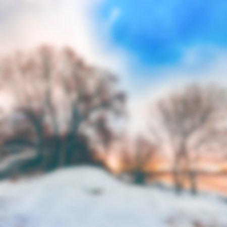 Winter landscape - soft lens bokeh image. Defocused background Stock Photo