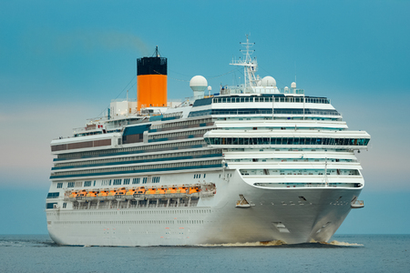 Large royal cruise liner on the way. Travel and spa services