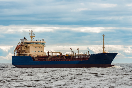 Blue tanker. Toxic substances and petroleum products transfer 写真素材