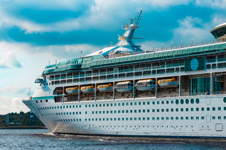 Luxury cruise liner underway. Tour travel and spa services 免版税图像