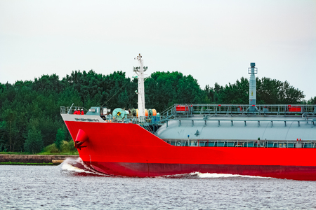 Red tanker. Toxic substances and petroleum products transfer