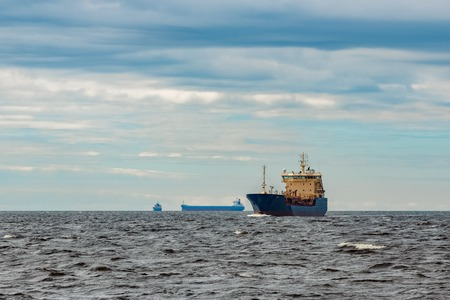 Blue tanker. Toxic substances and petroleum products transfer Stock Photo