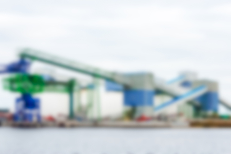 Cargo terminal - soft lens bokeh image. Defocused background