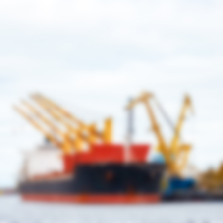 Cargo ship - soft lens bokeh image. Defocused background Stock fotó