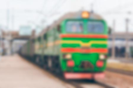 Freight train - soft lens bokeh image. Defocused background