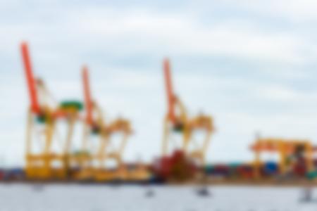 Portal cargo cranes - soft lens bokeh image. Defocused background Stock fotó