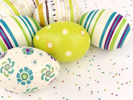 Easter eggs on white background  Easter card  Easter wallpaper
