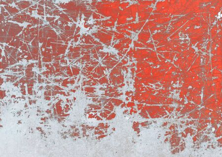 Frozen red painted grunge metal, background Stock Photo