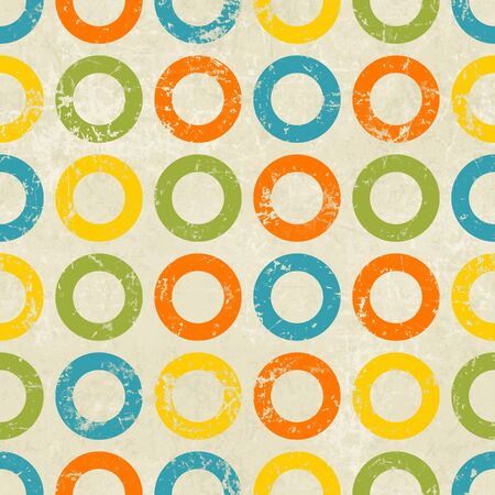 Colored circles seamless vintage pattern, retro background