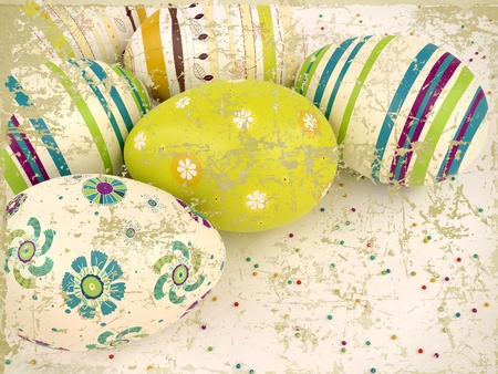 Easter eggs on white background  Vintage easter card  Easter wallpaper