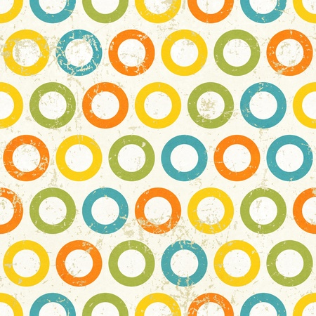 Colored circles seamless vintage pattern  Grunge retro background