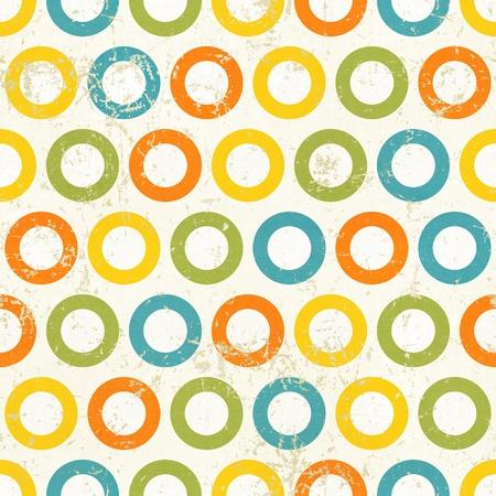 Colored circles seamless vintage pattern  Grunge retro background