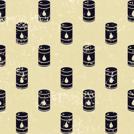Seamless grunge vintage oil barrels background pattern