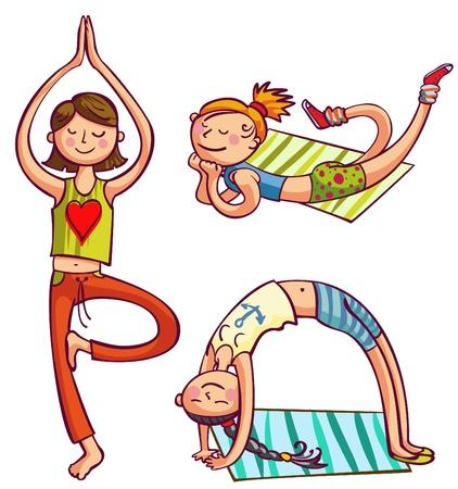 Training yoga girls illustration Fitness women club