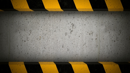Concrete screen background with caution stripes frame Stock Photo