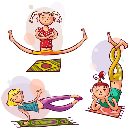 Young girls in yoga poses  Fitness woman club Illustration