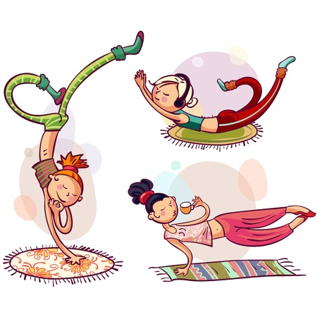 acrobat gymnast: Young girls in yoga poses  Fitness woman club Illustration