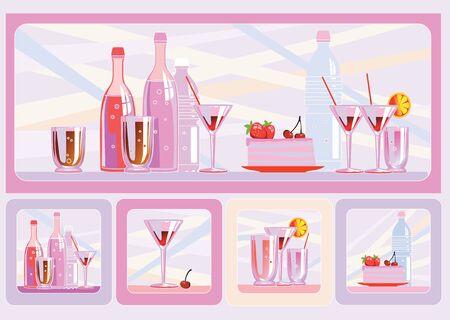 Cake and drinks  Bright pink background