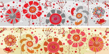 Colored flowers and birds banner Illustration