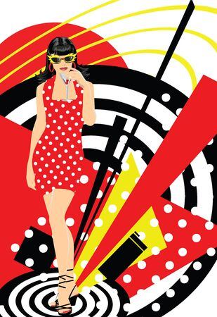 Sexy girl on retro party Illustration