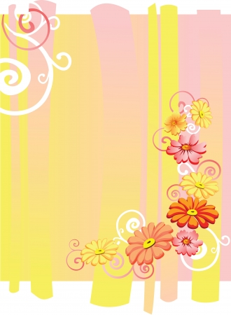 Flower card  Flowers on bright yellow pink background