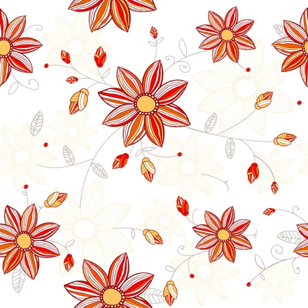 Seamless flowers pattern  Bright yellow red colored flowers on white background