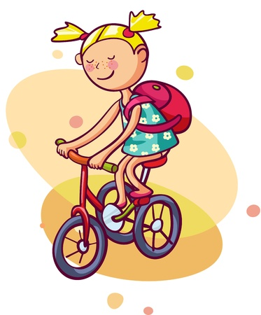 Little girl rides a bicycle  Kid enjoys summer Vector