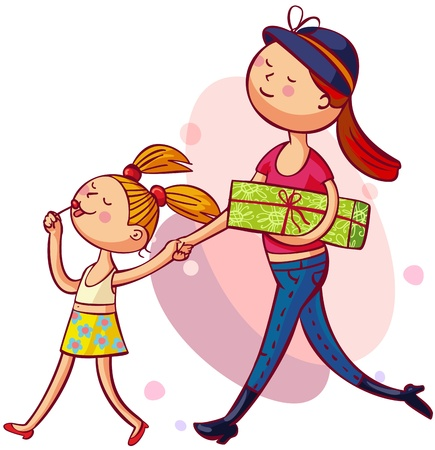 Young mother with daughter is shopping together Illustration