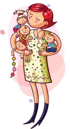 moeder met baby: Jonge moeder met met kinderen in hun armen Happy Family