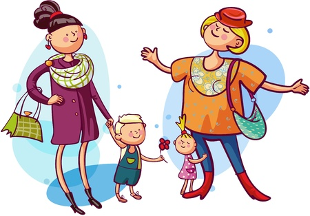 Young mothers with children is shopping together Vector
