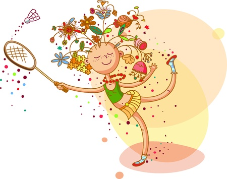 Girl with floral hairstyle is playing badminton Illustration