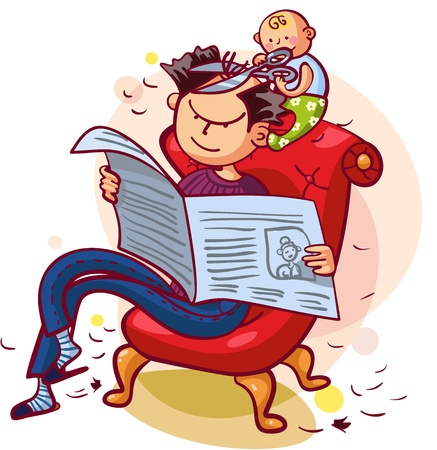 Father and son having fun together  Father is reading newspaper, son is making his father a new hairstyle