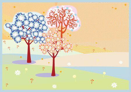 Bright spring sakura trees flowers background Illustration