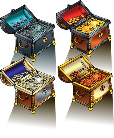silver coins: Treasure Chest full of gold coins vector illustration Illustration