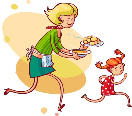 Young mom feeding naughty daughter  Vector illustration