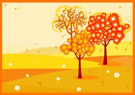 Bright yellow orange autumn trees background