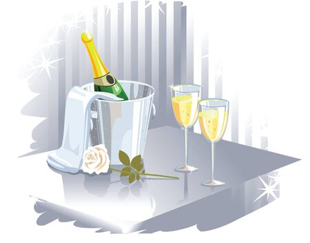 bottle of champagne in bucket, two glasses full of champagne and rose