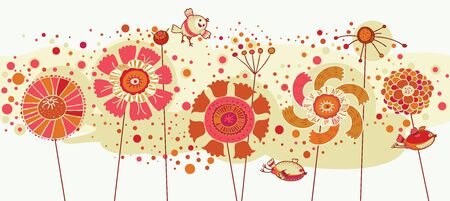 Colored flowers and birds Illustration