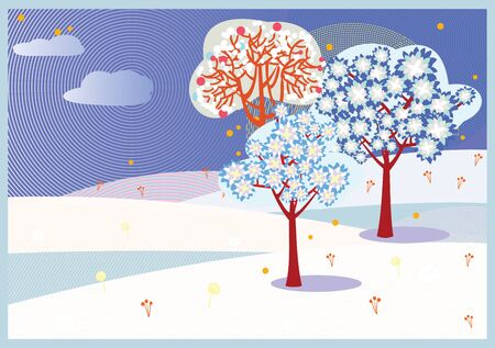 Bright winter trees background