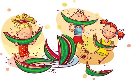 ni�os comiendo: Ni�os sonrientes felices que comen la sand�a Vectores