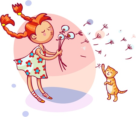 little girl blowing dandelion Vector