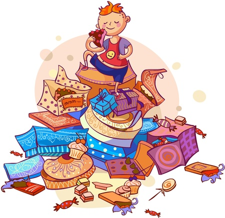 little sweet-tooth boyl eating cakes vector illustration Stock Vector - 19982343