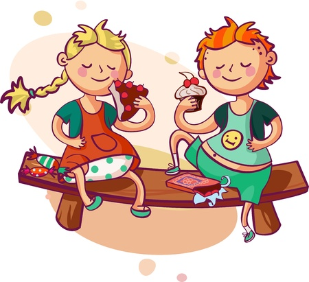 little boy and girl eating sweets