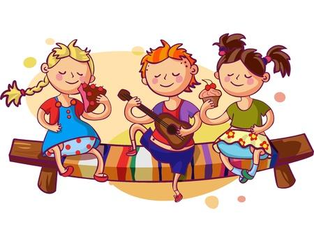 kid eat: Bambini romantica festa illustrazione vettoriale. Piccolo ragazzo a suonare la chitarra e due ragazze dolci mangiare dolci Vettoriali