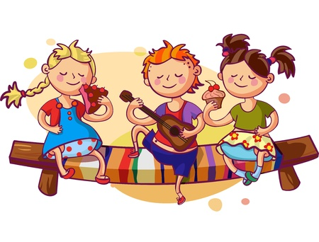 Romantic kids party vector illustration. Small boy playing guitar and two sweet girls eating cakes Illustration